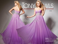 New Custom Made Purple Simple Sweetheart Beads A Line Floor Length Chiffon Prom Dresses Evening Party Gowns Cheap 2013
