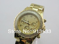 2013 Hot Sell New Brand Women's Watch Big Dial and Heavy Weight With Dual Diamond And Calander Christmas Gift Free Shipping
