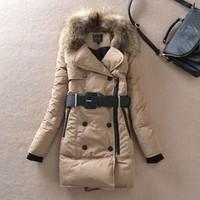 Free Shipping Winter  Women'S 2013 Large Fur Collar Slim Fashion Medium-Long Thickening Down Coat 3 Colors YUR26