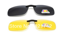 2pcs*Black+2pcs*Yellow/lot Polarized Sunglasses Clip on Eyewear for Myopia Fishing Driving for Day/Night use Non-flip-up