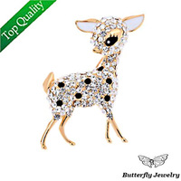 (MOQ 10$)Free shipping Top quality Rhinestone Pretty Sika Brooch Pin,2013 New Jewelry Deer Brooches Wholesale