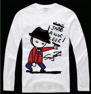 Roddy doughface jabbawockeez hip-hop 100% básico camisa masculina de algodão de manga comprida T-shirt(China (Mainland))