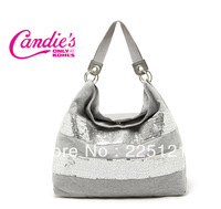 2013 fashion casual lightweight hand-sequined handbag large capacity portable shoulder bag+Free Shipping