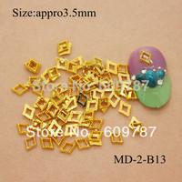 200pcs/lot 3D Nail Art Studs Rhinestone Sticker Gold Patch Hollow metal frame Decoration DIY