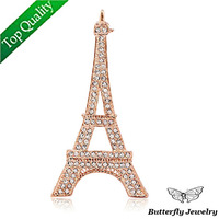 (MOQ 10$)Free shipping Top quality Alloy Full Rhinestone Eiffel Tower Brooch Pin,France Fashion 18K Gold Costume Brooches