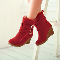 new arrived fashion ankle round toe boots for women faux suede buckle 3 colors wedges shoes HSX 6-6L