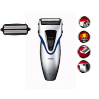Free shipping POVOS PS6128 double blade fully washable rechargeable EU/US plug bussiness razor shaver