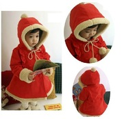 Free shipping,New baby girl winter hooded coat top quality red long style coat,girl outerwear/jacket children garment