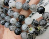 6mm Black Tourmaline Gemstone Round Loose Bead 15''