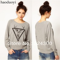 A318 Free shipping Fashion  Women Hoodies moose print o-neck gray pullover sweater Women