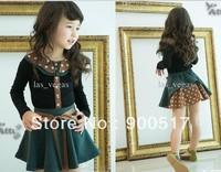 girls outfits children long sleeve t shirt + skirt 2pcs sets kids fashion garment morden costume autumn clothing  34.5