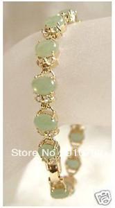 "free shipping Wholesale *****Beautiful Gold Plated Natural Jade Bracelet 7.5""(China (Mainland))"