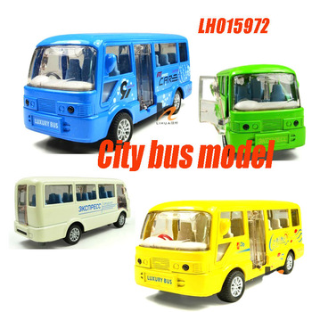 FREE SHIPPING car model toy vehicle simulation toys for children 1:50 City bus sound and light three doors Pull Back