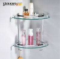 Bathroom accessories hardware copper double layer triangle bathroom shelf rack