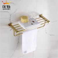 Free shipping European Antique Bronze Bathroom Shelf with Tower Bar Golden Finish Luxury Bath Towel Holder Towel Rack Accessory