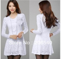 Women Ladies Sexy Long Sleeve Lace Mini Dress Cocktail Evening Party Black White