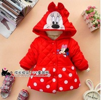 new winter cute style girl's coat, girl's Mickey design keep warm Cotton-padded clothes coat free shipping