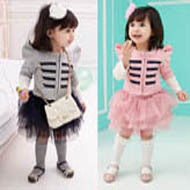 Free shipping New baby girl long sleeve jacket+skirt 2pcs suits Princess girl suits Children's clothes sets(China (Mainland))