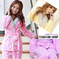 2013 fashion women's winter pajamas set, lovely girl's full sleeve turn-down collar fleece nightgown free shipping