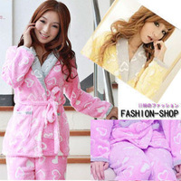 2013 fashion women's winter pajamas set, lovely girl's full sleeve turn-down collar fleece nightgown free shipping