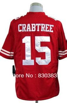 Drop Ship,Wholesale 2013 New Cheap Fashion Football Game Sports Jersey,San Francisco #15 Crabtree Red/Away White Shirt,Mix Order