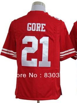 Free Shipping,Wholesale 2013 Cheap Fashion Football Game Sport Jerseys,San Francisco #21 Gore Red/Road White Tee Shirt,Mix Order