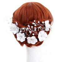 Smoke handmade crystal flower married small hairpin pearl the bride hair accessory hair accessory rhinestone wedding dress