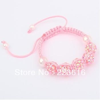 Free Shipping  Europea Fashion Lovely Weave  Rhineston Bracelet Bangle Peral Wholesale