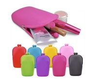 Simple Style!Jelly Rubber Silicone Cosmetic Makeup Bag Coin Purses Cellphone bag