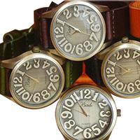 Free Shipping Fashion Vintage Women quartz Watch Genuine cow leather large dial carving ladies wristwatch 5 colors