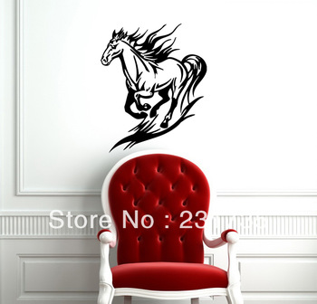 free shipping  black running horse mustang animal design wall vinyl stickers decals art mural g26