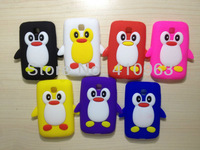 Free shipping 1pcs/lot Cute Cartoon Penguin Snap-on Silicone Cover Case For LG L3II E430+ film