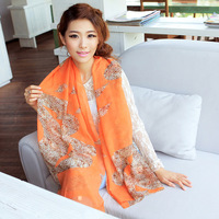 New Arrival Orange leopard Chiffon Scarf European Style Autumn Scarves for women
