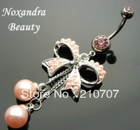 14g banana belly button ring butterfly bow pearl belly ring