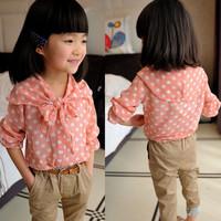 Free shipping baby female child summer chiffon polka dot shirt girl's blouses children's blouses