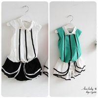 Free shipping baby female child summer quality chiffon shirt pants set