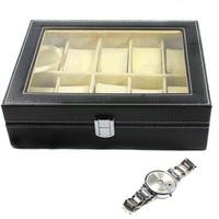 In Stock  new Leather 10 Slots Wrist Watch Display Box Storage Holder Organizer Windowed Case