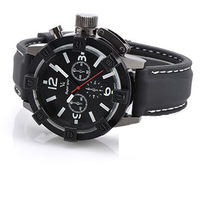 New All Black Cool Large Size Men Male Army Silicone Band Casual Sport Watch