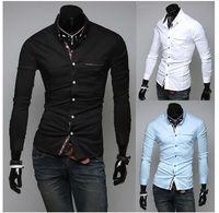 New men's Casual Luxury Stylish Slim Long Sleeve Shirts3 sizes M ~XXL white black free shipping
