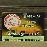 20*30cm Modern Tin Sign THE NEW 1950 CHECKER CAB Poster Iron Sign Wall Decor Pub Decor Tin Painting