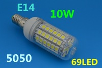 Wholesale 5X E27/G9/E14 9W 69 SMD 5050 LED High Power Light White Warm white bedroom light spot lamp 750LM Long life