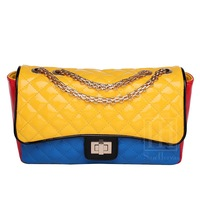 2013 women's handbag fashion japanned leather shiny Collision color plaid bag messenger bag mixed color chain quilted flap bag
