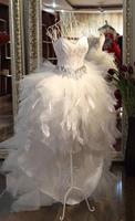 Feather princess wedding dress big low-high train wedding dress