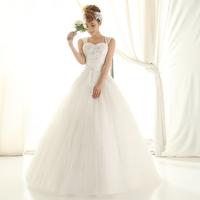 Double-shoulder spaghetti strap wedding qi 2013 bride wedding dress princess wedding dress sweet wedding dress