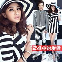 Theme wedding lovers costume 2013 personality stripe short skirt
