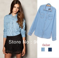 Spring And Summer Fashion Brand Punk Rivet Turn Down Collar Women Denim Jeans Shirt Lady Casual Blouse
