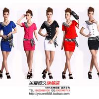 Summer professional set ktv work clothes work wear clothes fashion stewardess uniforms temptation