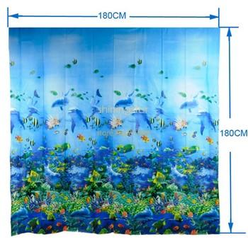 180 x 180 12 x Hook Bathroom Ocean Sea Life Waterproof Fabric Shower Curtain Blue TK0761