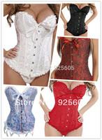 Free P&P 5 colors,Wholesale Corset+G String Set,Sexy Shaper for women,Push Up Boned Stripe Bowknots Bustier Size:S-6XL 819