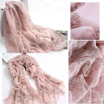 Women Favorite Long Soft Voile Porcelain Stole Soft Scarves Shawls Wraps Pink